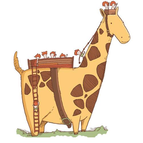 En giraff med små folk på